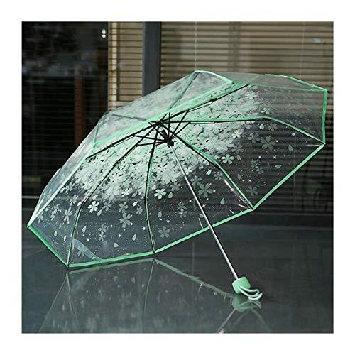 XMCHE Paraguas Claro Transparente de la Flor de Cerezo Sakura Mushroom Apolo 3 Protección del Paraguas Paraguas Plegable (Color : Green)