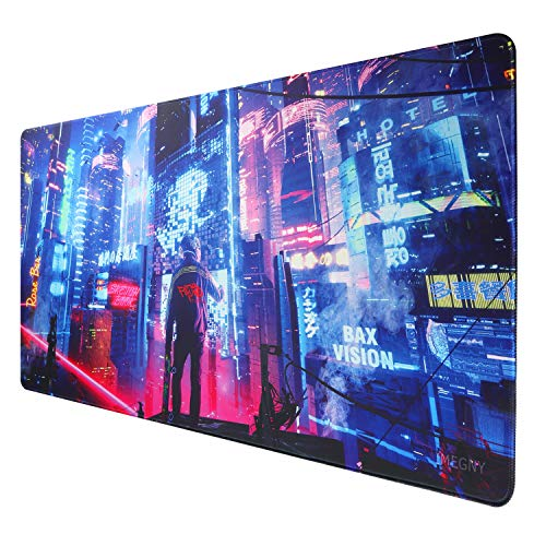 Imegny Large Gaming Mouse Pad, Extended XXL Desk Pad & Non-Slip Rubber Mat for Mice and Keyboard with Stitched Edges (90x40 cyberpunk072)