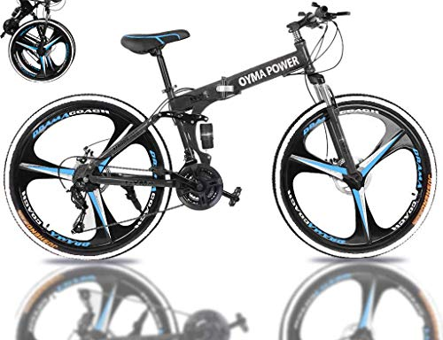 Rodam 26 Inch Folding Mountain Bike for Men/Women, 21 Speed Bicycle for Adults, Carbon Steel Frame Full Suspension MTB Bikes Foldable Bicycle with Disc Brake, Ship from US Warehouse (Black)