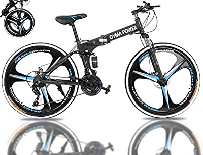 26 Inch Folding Mountain Bike for Men/Women, Rodam 21 Speed Bicycle for Adults, Carbon Steel Frame Full Suspension MTB Bikes Foldable Bicycle with Disc Brake, Ship from US Warehouse (Black)