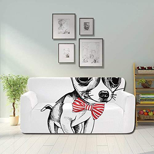 Generies Niedlicher glücklicher Hund tragen Krawatten-Couch-Beutel-Abdeckung Weiche Couch-Abdeckung Fitted Furniture Protector 2