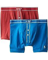 Original Penguin Men's 2-Pack Earl Knit Boxer Brief Set, Classic Blue/Redding, Small
