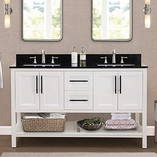SJ Collection Nixie 60 in. Transitional Style Double Sink Bathroom Vanity, White