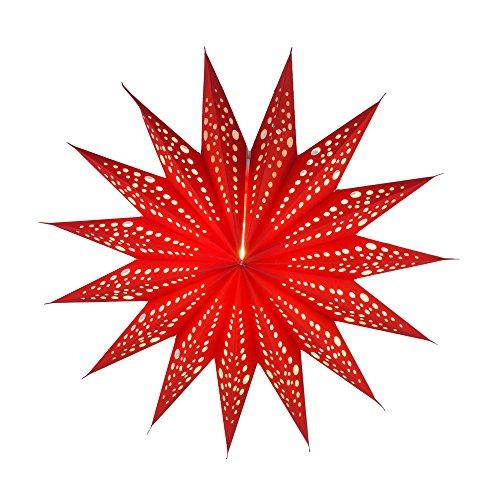 Guru-Shop Faltbarer Advents Leucht Papierstern, Weihnachtsstern 40 cm - Aristea Rot, Star Fensterdeko, 5 Spitzen