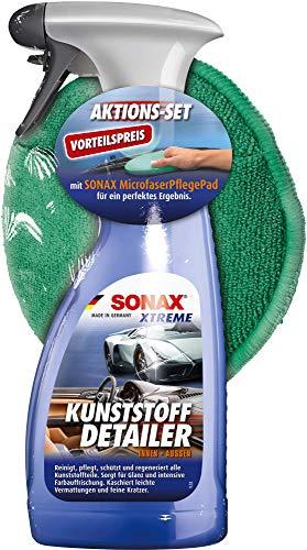 SONAX XTREME KunststoffDetailer Innen + Außen (500 ml) inkl. Microfaserpad das Kunststoffpflege-Set für das gesamte Fahrzeug | Art-Nr. 02558410