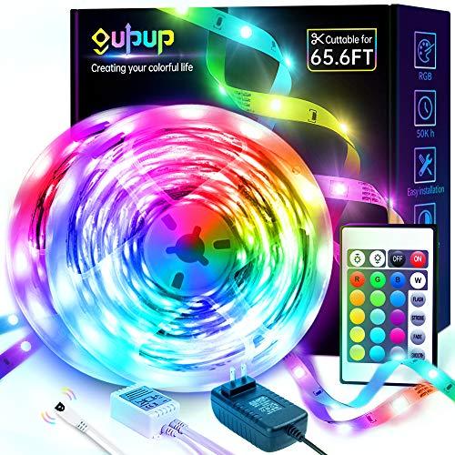 LED Strip Lights 65.6ft, GUPUP LED Lights for Bedroom RGB Color Changing Strip Lights SMD 5050 12V LED Lights Strip with Remote for Room,Party, Kitchen, Home Decoration, 2x32.8ft