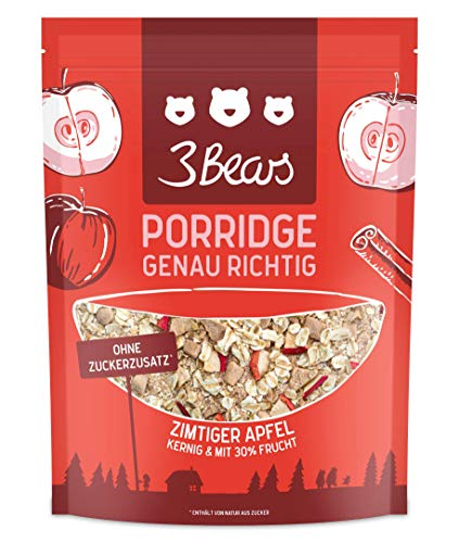3Bears Porridge Zimtiger Apfel (400g) - Viel Frucht Ohne Zuckerzusatz Overnight Oats Haferflocken Frühstück 100 % Natürlich