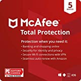 McAfee Total Protection 2021, 5 Device, Internet Security Software, VPN, Password Manager, Privacy, 1 Year with Auto Renewal - Amazon Exclusive Subscription