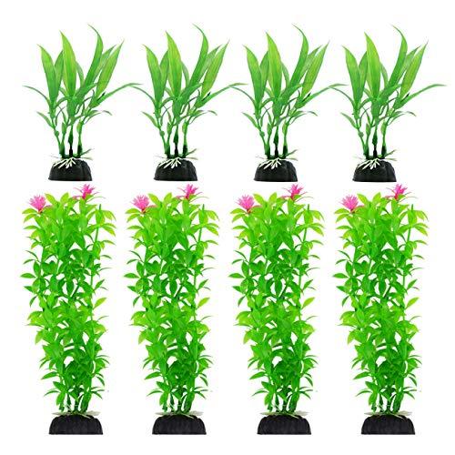 CousDUoBe 8 Pack Artificial Aquarium Plants, Used for Household and Office Aquarium Simulation Plastic Hydroponic Plants(Maximum 8 inches, Green)