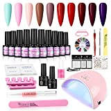 Coscelia Kit de Esmaltes Semipermanentes de Uñas en Gel Lámpara 36W UV/LED 12PCS Pintauñas Soak off 7ml Kit de Manicura y Pedicura