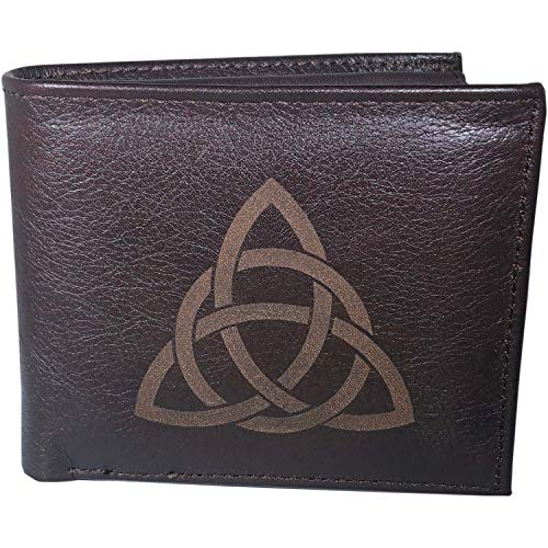 Leather Wallet for Men, Celtic Trinity Knot Design, 100% Real Leather