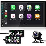 2 DIN Radio Coche con Apple Carplay Android Auto, Hikity Bluetooth Autoradio 7 Pulgadas Pantalla Táctil con Mirror Link, USB Puerto, FM, SWC + Cámara De Visión Trasera