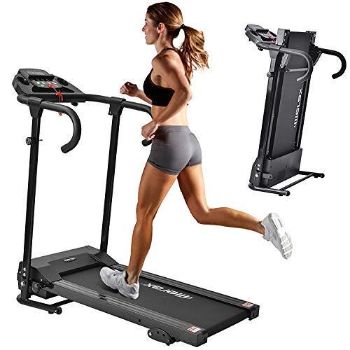 Merax Laufband Klappbar Elektrisches Laufbander Fitnessgeräte Verstaubar Kompakt mit LCD-Display und Tablethalterung, 12 Programmen 1-10km/h Lauftraining für Profi und Einsteiger