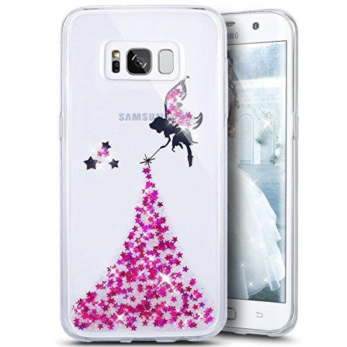 Coque Galaxy S8,Surakey Glitter Paillette TPU Silicone Étui Housse Téléphone Couverture Brillant Cristal strass avec Ange Papillon motif Transparent Case pour Samsung Galaxy S8, Rose