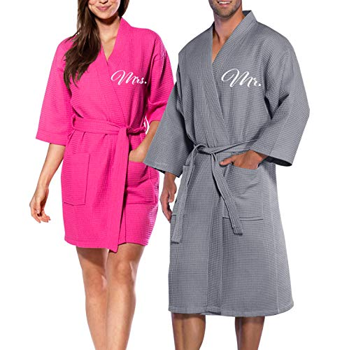 Cotton Waffle Robe His Hers & Mr Mrs Couple Spa Honeymoon Hotel Kimono Bathrobe