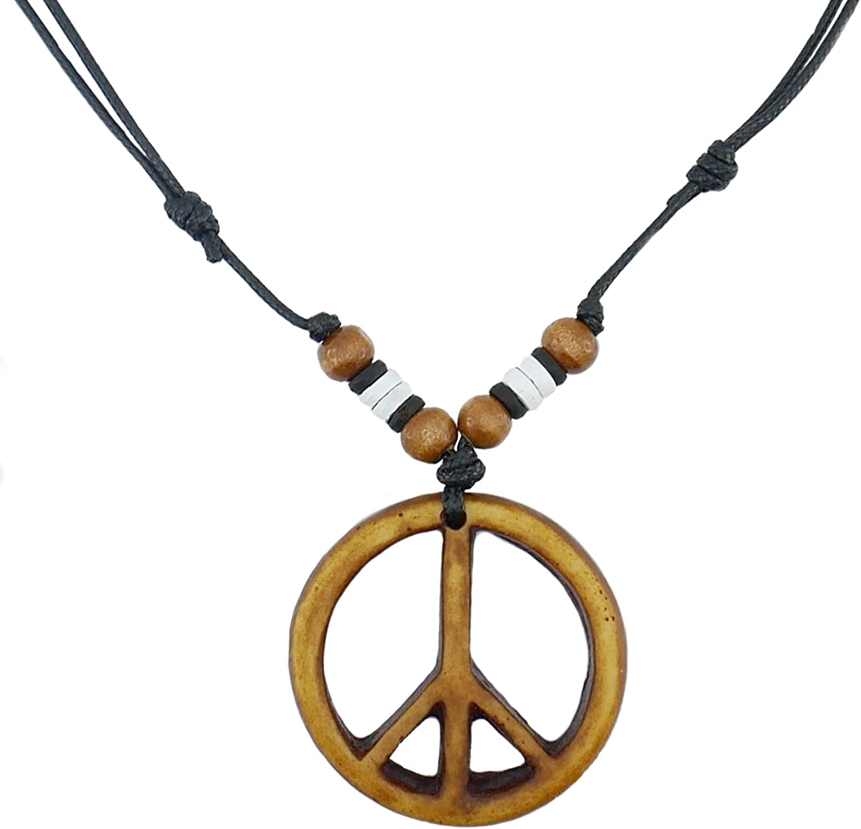Nove Jewelry Leather Peace Sign Necklace - Peace Symbol Necklace - Resin Peace Sign Pendant - Adjustable Black Cord