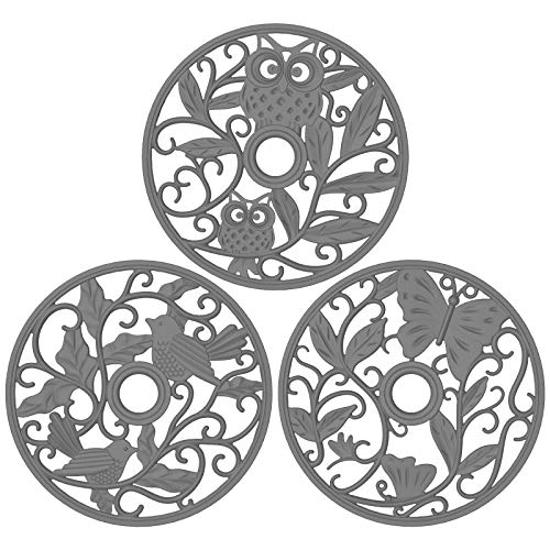 ME.FAN Silicone Trivet [3 Set] Trivet Mat - Fly Animals Hot Pads for Pots & Hot Dish - Insulated Flexible Durable Non Slip Large Coasters (Deep Gray)