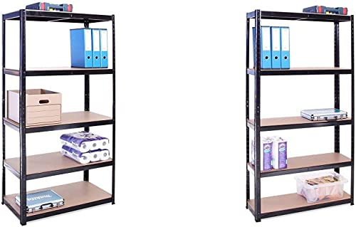 Rangement Garage: 180 cm x 90 cm x 45 cm | Noir - 5 Niveaux | 175 kg par Tablette & Rangement Garage: 180 cm x 90 cm ...