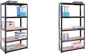 Rangement Garage: 180 cm x 90 cm x 45 cm | Noir - 5 Niveaux | 175 kg par Tablette & Rangement Garage: 180 cm x 90 cm x 30 ...
