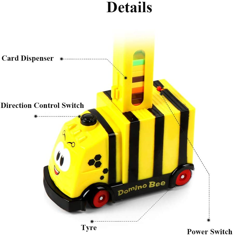 Yellow NEXTAKE Domino Train Domino Bricks Building and Stacking Toy Automatic Blocks Dispenser Direction Control Domino Blocks Set for Boys and Girls