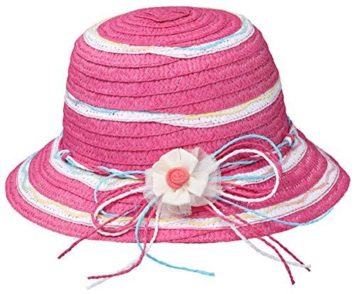 fiebig Mädchen Sommerhut Papierhut Hut zweifarbige Blockstreifen pink (51)