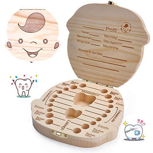 YZNlife Baby-Zahn-Box, Milchzähne Box Zahnbox Mit Namen Graviert, Kinderzahndose Souvenir Box für Kinder, Milchzahndose für Mädchen und Jungen, Zahn Organizer Holz Zahndose Geburtstagsgeschenk