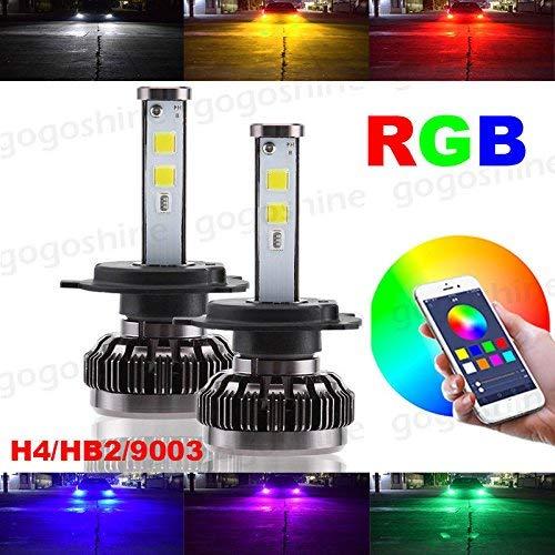 Torofibi H4 9003 HB2 2 in 1 Auto Led Headlight Kits - HZ-RGB Smartphone App-enabled Bluetooth RGB + LED Headlight Conversion