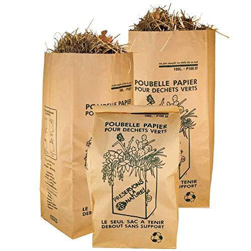 Materiel-pro Toutes Taille quantité Sacs de Jardin XXL Sac déchet Jardin, Sac déchets végétaux en Papier Sac à déchet Vert de Jardin Sac déchet Papier Sac végétaux Jardin Sacs Poubelle (50, 100L)