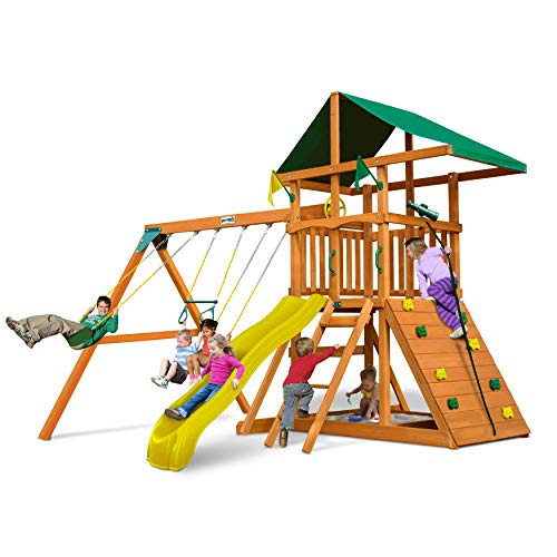 Gorilla Playsets 01-0001-Y Outing Swing Set with Wide Climbing Wall, Swings and...
