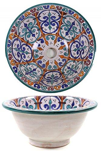 Orientalisches marokkanisches Keramik Waschbecken Waschschale Aufsatzwaschbecken - Marrakesch 003-40cm