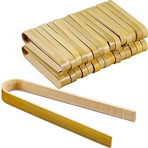 Mini Pinzas de Bambú Pinzas para Tostar de 4 Pulgadas de Largo Pinzas de Cocina de Madera Desechables Utensilios de Cocina de Bambú para Suministros de Té Pepinillos Pan (90 Piezas)