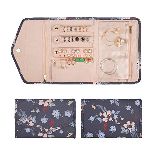 Travel Jewelry Organizer Case Roll Bag Accessories for Women Jewelry Storage Dark Flower