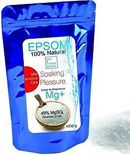Sales Epsom Puras - Magnesio Natural ● Eliminar las toxinas y metales pesados ● 250g ● Exfoliante Facial y Corporal 100% Natural ● Sulfato de Magnesio Puro Grado Alimentar Multiusos -