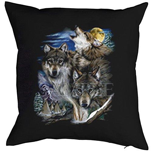 Kissen incl. Füllung, Dekokissen, Schlafkissen, Couchkissen mit USA Motiv - Drei Wölfe im Vollmond