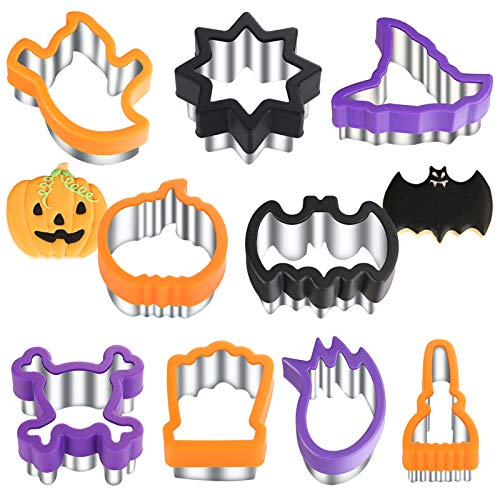 Halloween Cookie Cutters Shapes,Stainless Steel Biscuit Cutters-Fruit Vegetable Cutter,Sandwich Cutters,Cookie Cutter Molds for Halloween Party