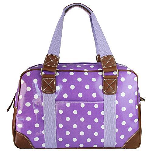 Miss Lulu Ladies Polka Dot Oilcloth Travel Weekend Away Bag Purple L1106D2 PE