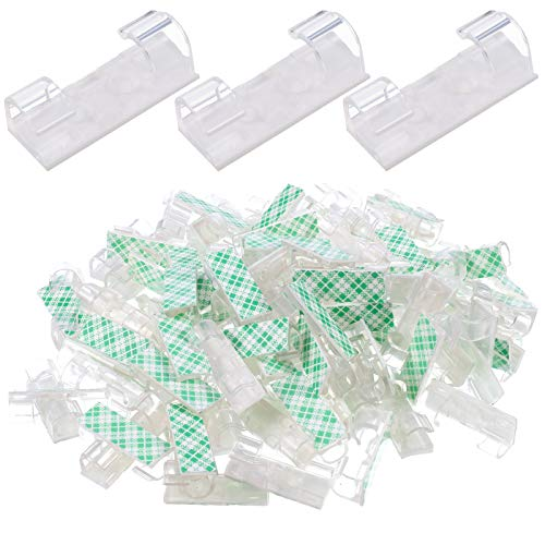 AKlamater 100 clips de cable autoadhesivos, soporte para cables con adhesivo, organizador de cables para escritorio, multiusos, para el hogar y la oficina