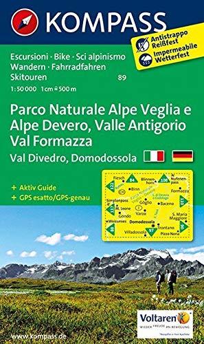 Parco Naturale Alpe Veglia e Alpe Devero, Valle Antigorio, Val Formazza, Val Divedro, Domodossola: Wanderkarte mit Aktiv Guide Radrouten und alpinen ... 1:50000 (KOMPASS-Wanderkarten, Band 89)