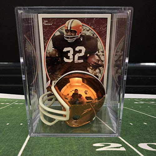 Chrome Edition Cleveland Browns NFL Helmet Shadowbox w/Jim Brown card