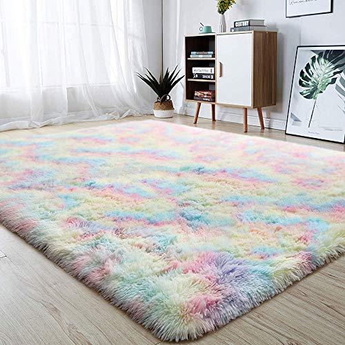 Weiche Mädchen Zimmer Teppiche - Flauschigen Regenbogen Teppich Für Kinder Baby Schlafzimmer Kinderzimmer Wohnkultur Großen Boden Teppich,120X200cm