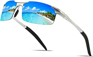 Fashion Square Ultra-Thin Border Metal Fishing Travel Driving Beach Anti-UV Protection Ink UV400 Outdoor Sports Riding Men's Polarized Sunglasses Retro (Color : Blue)