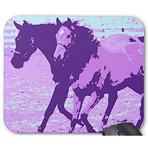 Yyndw Mouse Pad Muismat Computer Purpur Pop Art Paarden speelaccessoires 25 x 30 cm