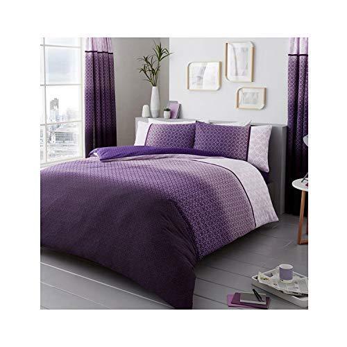 Lions Modern Urban Ombre Duvet Quilt Cover Polycotton Printed Bedding Set (Purple, Double)