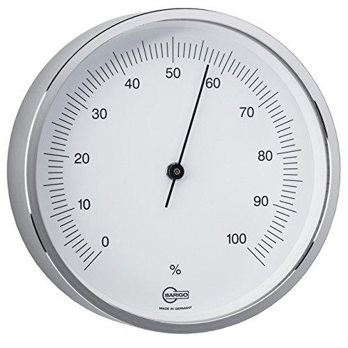 BARIGO Hygrometer, Ø 85mm, massiv Messing, silber mit Standfuß