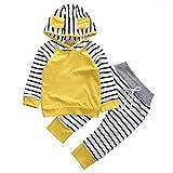 ggudd Niña Bebé Hood Camisa de Entrenamiento Tops y Pantalones A Rayas Trajes Set de Ropa(Amarillo,12-18 Meses)
