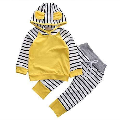 ggudd Niña Bebé Hood Camisa de Entrenamiento Tops y Pantalones A Rayas Trajes Set de Ropa(Amarillo,9-12 Meses)