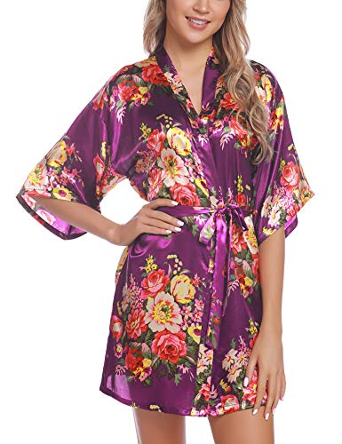 Hawiton Peignoir Satin Femme Robe de Chambre Kimono Femmes Sortie de Bain Nuisette Déshabillé à Imprimé Fleurie, XL, Violet Foncé