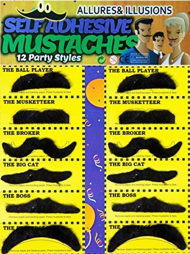 12-teiliges Set falscher Schnurr-Bart Klebebärte zum Ankleben in schwarz für Erwachsene & Kinder perfekt für Fasching und Fasching
