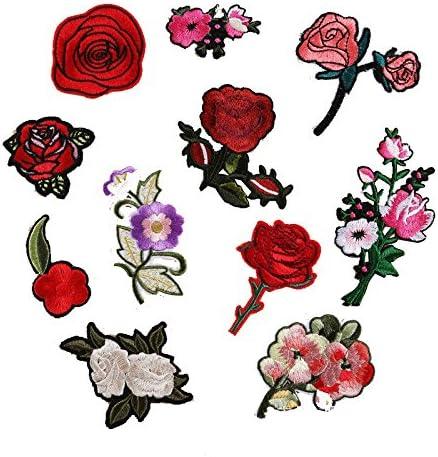 Patches patchs paire broderie fleur patche Thermocollant transferts Fleurs