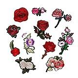 EAGLESTIME 11x Broderie Patchs Rose Fleur Coudre Correctifs Sac Hat Appliques